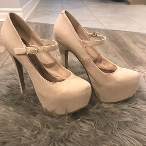 """Justfab"" brand nude platform heels. Brand new."
